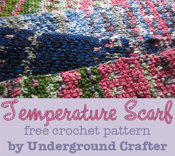 Temperature Scarf, free (conceptual) crochet pattern by Underground Crafter