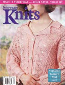 Joan McGowan's Lace Panel Jacket on the cover of the May, 1998 issue of Interweave Knits. Image (c) Interweave.
