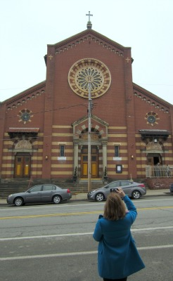 Taking a picture of my mom taking a picture in front of Church Brew Works.