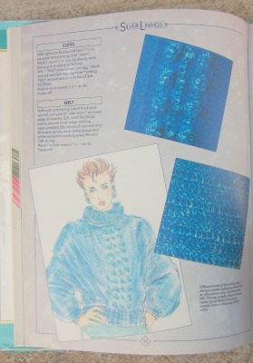 A fashion sketch of Silver Linings in blue.