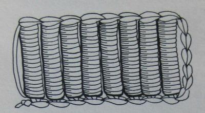 Roll (bullion) stitch illustration by Marta Cone.