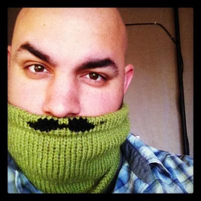 Johnny's mustache cowl.