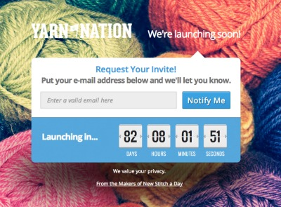 Sign up for an early invite to Yarn Nation.
