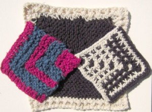 Scrappy mitred square washcloths.