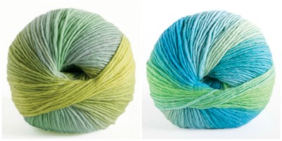Knit Picks Chroma Worsted in Parakeet (left) and Galapagos (right).  Picture (c) Knit Picks.