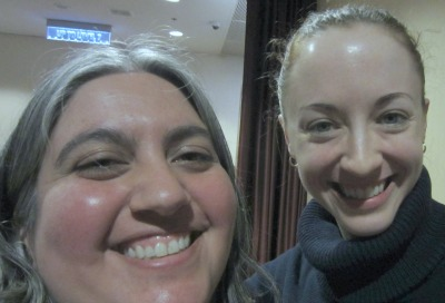 Me (left) with Danielle Chalson at Vogue Knitting Live.  (Forgive our super close up self-portrait!)