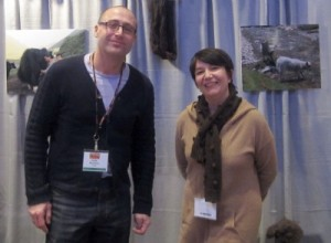 Paola (right) and another member of the mYak team at Vogue Knitting Live.