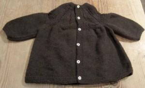 A baby jacket knit in mYak yarn.