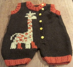 Giraffe jumper knit with mYak and other yarns.