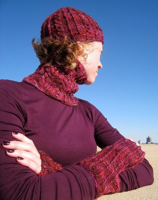 Winterberries Hat Fitted Cowl and Fingerless Mitts