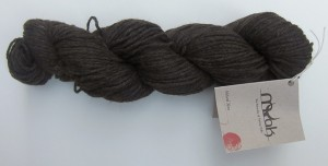 A skein of medium weight mYak yarn I purchased at Vogue Knitting Live.