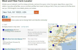 A screenshot of the Yarn Places Wool and Fiber Farm locator for my home zip code.