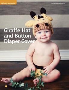 Giraffe Hat and Button Diaper Cover.