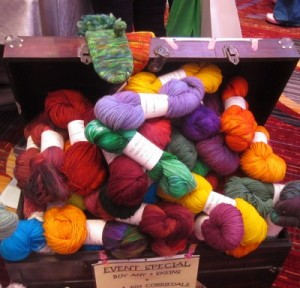 Yarn at the Full Moon Farm booth at Vogue Knitting Live 2014.