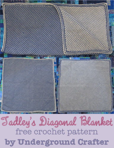 Tadley's Diagonal Blanket, free double-ended crochet pattern by Underground Crafter
