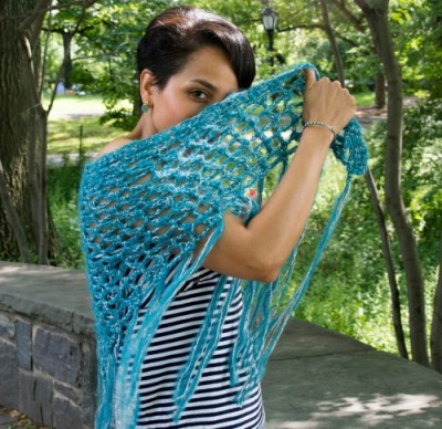 A Little Bit of Bling Shawl, free crochet pattern by @ucrafter