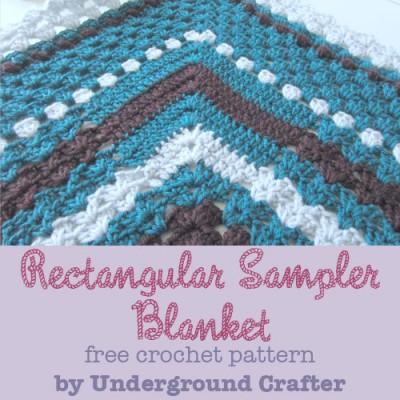 Rectangular Sampler Blanket, free crochet pattern by Underground Crafter