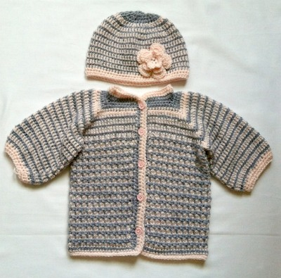 Crocheted striped sweater set. (Size: 3 to 9 months.)