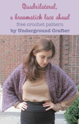 Quadrilateral, a broomstick lace shawl, free #crochet pattern by @ucrafter with a photo tutorial, stitch diagram, and pattern in US terms.