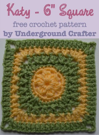 """Katy - 6"""" Square, free crochet pattern by Marie Segares/Underground Crafter"""