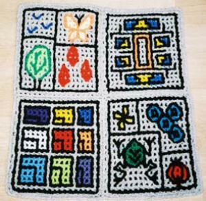 These double filet crochet designs are based on the Berlin Ware theme. Designs by (clockwise from top left) carolserena, nickerjac, mrspammy, and mulenga.