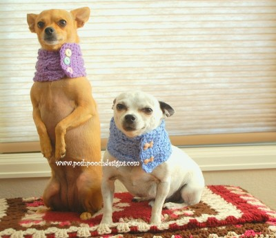 Cable Stitch Dog Cowl with Buttons, free crochet pattern by Sara Sach. Image (c) Posh Pooch Designs.