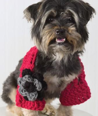 Doggie Shrug, free crochet pattern by Molly Mahoney. Image (c) Red Heart/Coats & Clark.