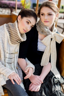Gingham & Wool Cowl and Fraulein Scarf by Pam Powers from Dress-to-Impress Knitted Scarves.