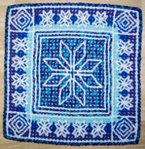 Barbara created the sample for this Icelandic cushion front design was adapted by carolserena from a needlepoint pattern by Jóna Sparey.