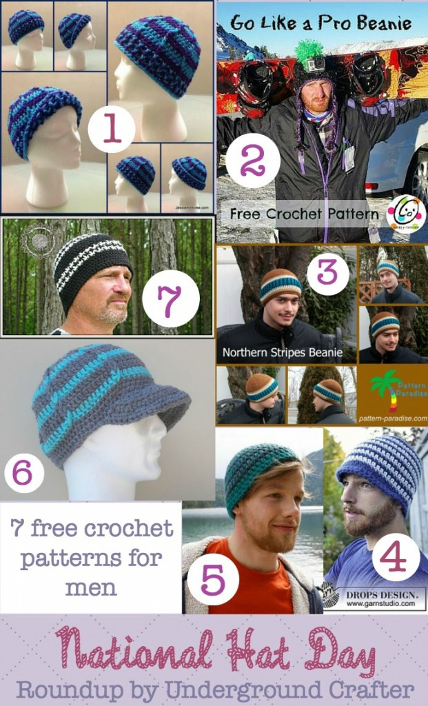 National Hat Day roundup of 7 free crochet patterns for men on Underground Crafter