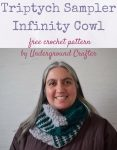 Triptych Sampler Infinity Cowl, free crochet pattern including intermeshing crochet, post stitches, and puff stitches by Underground Crafter