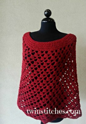 Lacy Trellis Spiral Poncho, free crochet pattern by Jennifer Uribe