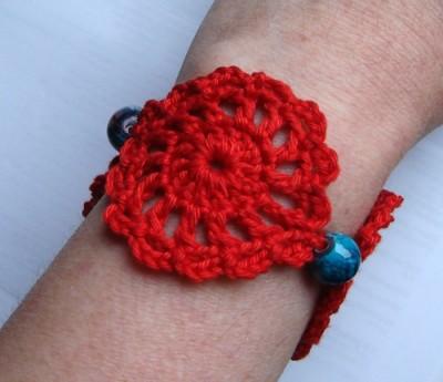 Red Beaded Bracelet, free crochet pattern by Susanne W