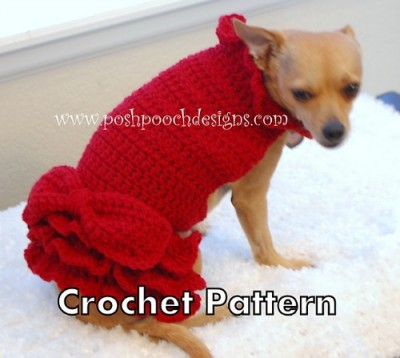 Red Ruffle Dog Sweater Dress, crochet pattern for sale by Sara Sach