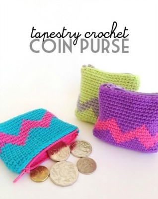 Tapestry Crochet Coin Purse Tutorial by Poppy and Bliss, roundup of 15 free tapestry crochet patterns on Underground Crafter