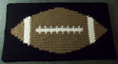 Tapestry Football Mat by Rhelena at CrochetN'Crafts, roundup of 15 free tapestry crochet patterns on Underground Crafter