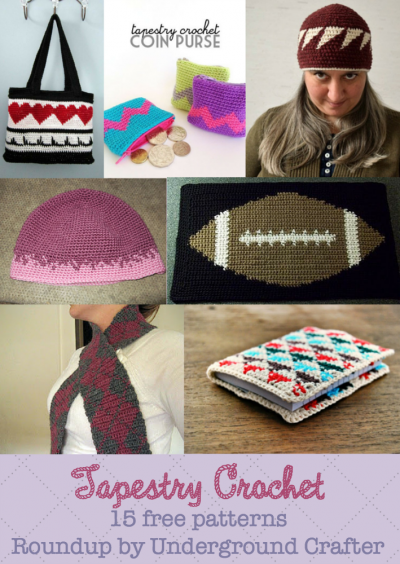 Tapestry crochet roundup of 15 free patterns by Underground Crafter