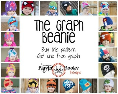 The Graph Beanie by Liz McQueen of Playin' Hooky Designs, roundup of tapestry crochet patterns on Underground Crafter