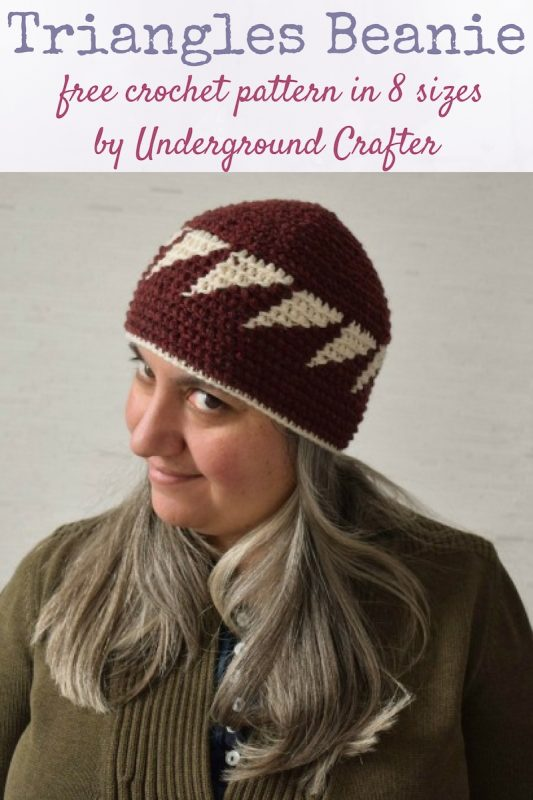 Triangles Beanie, free tapestry crochet pattern in 8 sizes by Underground Crafter.