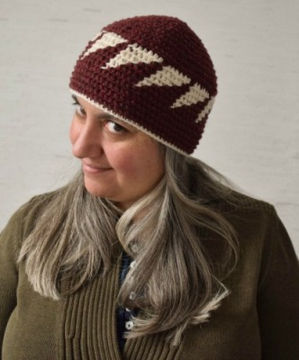 Triangles Beanie, free tapestry crochet pattern in 8 sizes newborn through adult by Marie Segares/Underground Crafter.