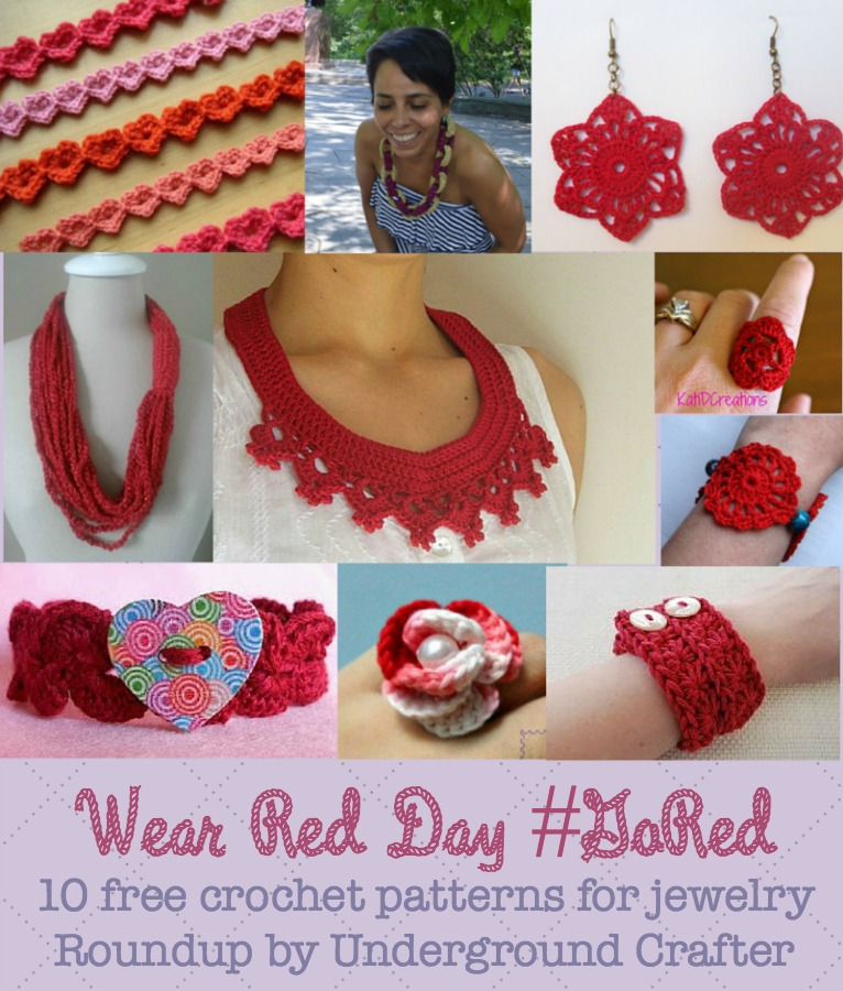Wear Red Day: 10 free crochet patterns for jewelry, roundup by Underground Crafter