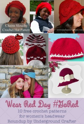 Wear Red Day 10 free crochet patterns for womens headwear roundup by Underground Crafter