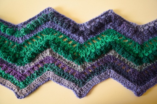 Rippling Peacock Scarf, free crochet pattern by Underground Crafter