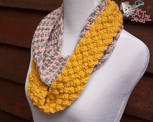 Braided Section Infinity Scarf, crochet pattern by KT and the Squid.