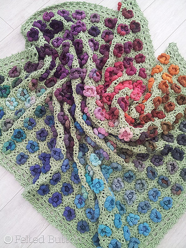 Monet's Garden Throw, crochet pattern by Felted Button.