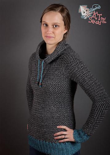Katy modeling her My Favorite Crochet Pullover pattern.