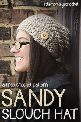 Sandy Slouchy Hat, free crochet pattern by Little Monkeys Crochet.