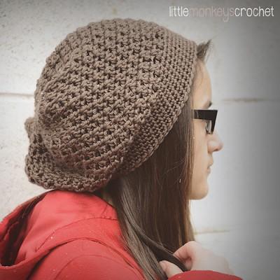 Slouchy Crochet Hat, free crochet pattern by Little Monkeys Crochet.