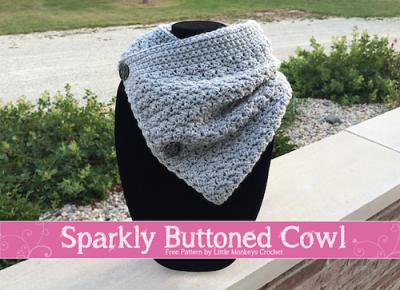 Sparkly Buttoned Cowl, free crochet pattern by Little Monkeys Crochet.