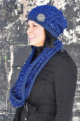 Urban Glamour Slouch and Cowl, crochet patterns by Sincerely, Pam.